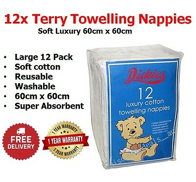 Terry Towel Nappy x12 Soft Luxury Cotton Reusable Cloth Nappies Diaper Towelling