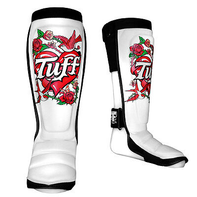 TUFF Muay Thai Shin Guards Protective Pads White with Rose TUF-SG-ROSE-WHT