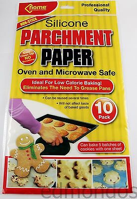 "10 x Silicone Parchment Paper Greaseproof Baking Sheets Oven Reusable 15"" x 12"""