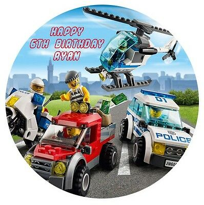 1 x Lego City 19cm round personalised cake topper edible image
