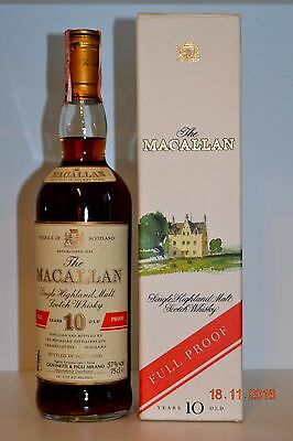 Single Malt Scotch Whisky MACALLAN 10 years old Full Proof  75cl  with box