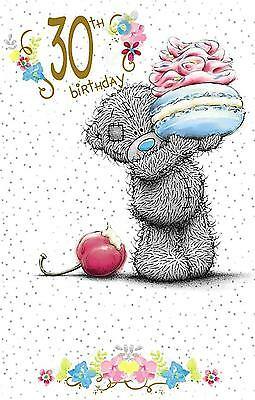 "Glittered ME TO YOU Tatty Teddy ""30TH"" Birthday Cards ~ Bear with Cake"