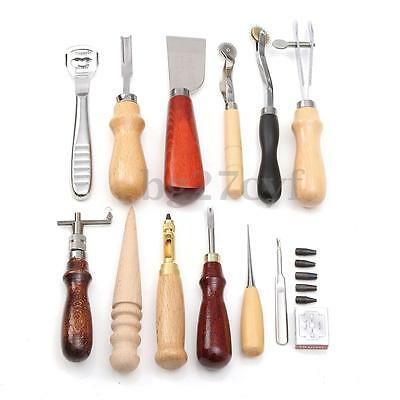 13PCS Set Leather Craft Punch Stitching Carving Groover Creaser Beveler Tool