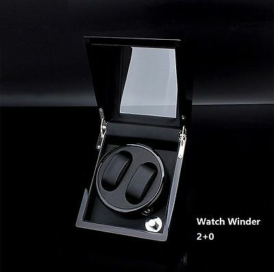 Automatic Watch Winder 2+0 Black Wood Display Storage Show Box Dual Watches Gift