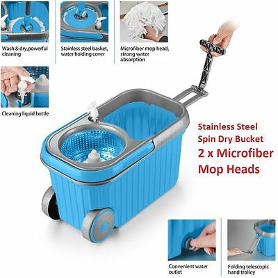 Spin Floor Mop Magic Spinning Dry Bucket with Wheels 2 Microfibre Cleaning Heads