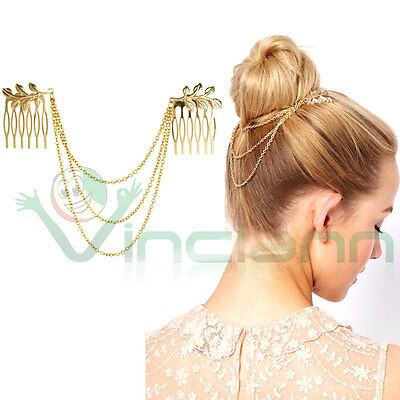 Acconciatura capelli catena foglie oro accessorio pettine fermacapelli donna