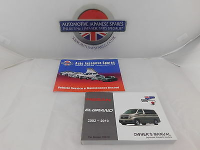 Fits Nissan Elgrand E51 2002 to 2010 Owners Handbook + Free Service Booklet