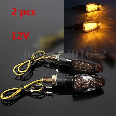 2 Universal Motorcycle bike LED Turn Signal Indicator Light Amber Blinker E-mark