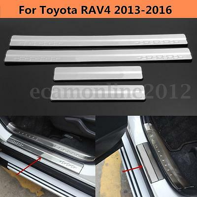 For Toyota RAV4 2013-2016 Silver Stainless Door Sill Scuff Plate Trim Protector