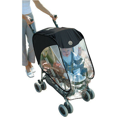 Baby Pushchair Pop 'n' Play Raincover with Pouch Wind & Water Vinyl Shield Black