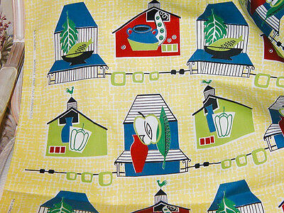 1940s/50s Vintage Houses, Vegetables & Lime Fish Print BarkCloth Era - Unused!