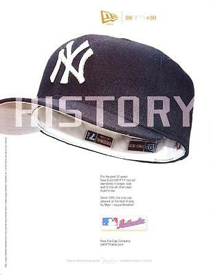 2004 NEW YORK YANKEES fitted blue baseball cap new era 59 fifty 50 print ad