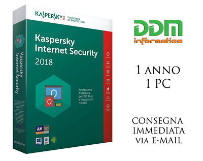 Kaspersky Internet Security 2017 2018 Licenza 1 anno 1 pc spedizione immediata