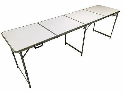 Official Size 8' Foot Folding Beer Pong 4 Section Table Party Games- Plain White