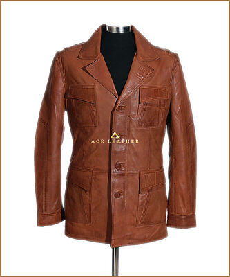 Mens Real Soft Lambskin Leather Blazer Jacket Tan Soft Real Leather Retro Jacket