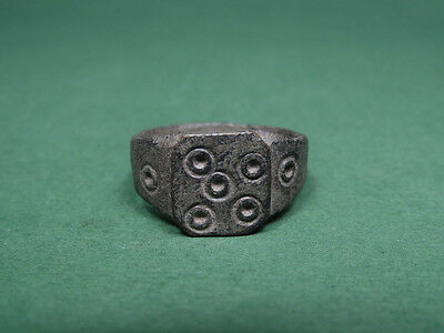 Ancient Bronze Ring Five Against Evil Sign Roman 100-300 Ad