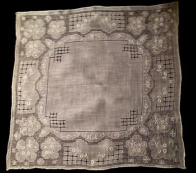 Exceptional Bridal Handkerchief Drown-work, Fillet, White Embroidery Hand Rolled