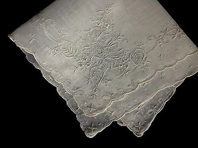 Lovely Delicate  Elaborate Hand Embroidery  White Bridal Handkerchief