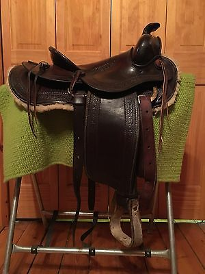 Vintage Antique Handmade and Hand Tooled Western Saddle 15""