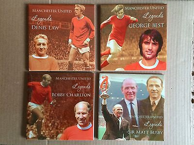 Set of FOUR Manchester United Legends ceramic coasters Law, Best, Charlton Busby