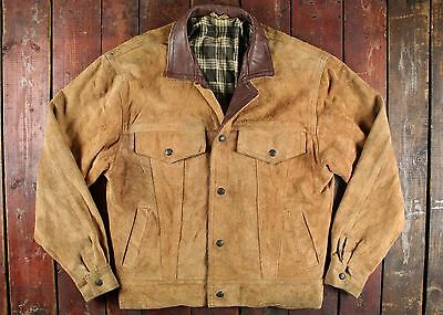 VTG 60s LEVI'S COWHIDE SUEDE LEATHER CHECK LINED WESTERN TRUCKER JACKET USA 40