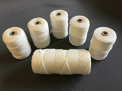 Nylon Braided Cord Twine Rope - White  1.3mm 2mm 3mm 4mm 5mm 6mm -1 KG Full Roll