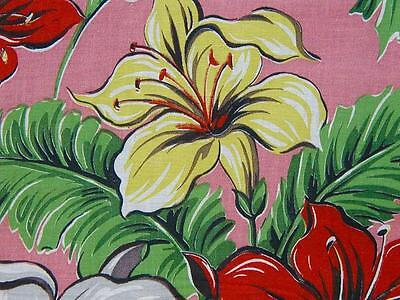 1940s/50s Vintage Cartoonish Lillies on Bubblegum Pink BarkCloth Era Fabric - Un