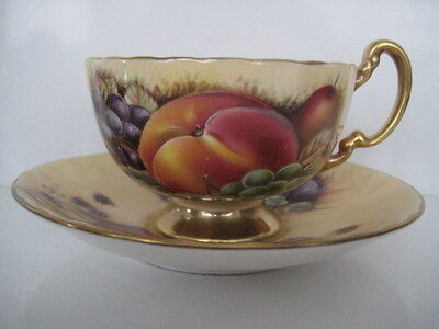 Rare Aynsley Orchard Gold Cup And Saucer Duo Fruit In And Out