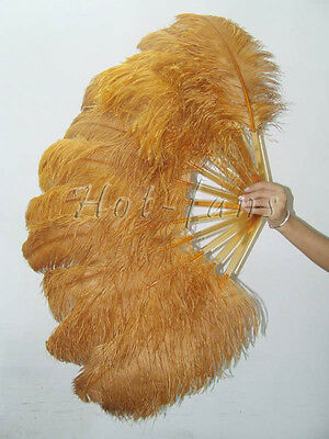 "Single layer Ostrich Feather Fan topaz 25""x 45"" with gift box Burlesque"