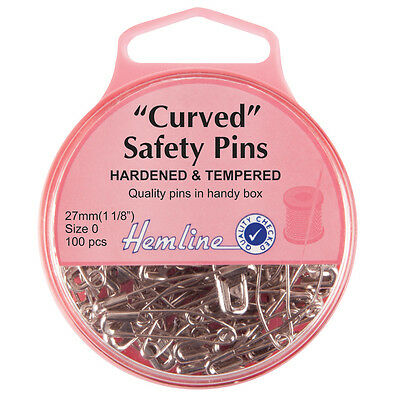 Hemline Hardened And Tempered Curved Safety Pins 27mm 100pcs