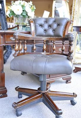 Mahogany Classical Captains Chair Brown Green Leather Swivel Office Desk Chair