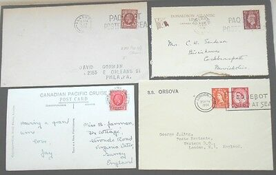 GB Maritime 4 covers 1935-54 with Paquebot franks - SS Letitia, Orsova,