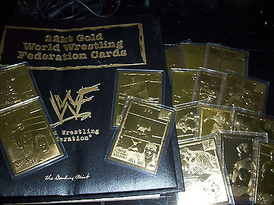 WWF WWE 22kt Gold Danbury Mint LOT 16 CARDS with Collectors Binder