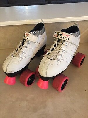 White Pacer Mach-5 GTX500 Quad Speed Roller Skates With Pink Wheels Youth Size 4