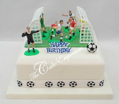 Football Cake Topper Set - Footballers Nets, Ball,  Motto, Ribbon and Grass