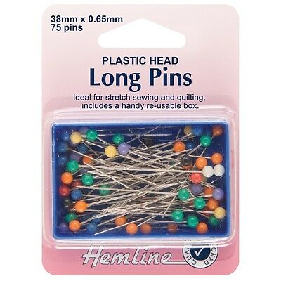 Extra Long Plastic Coloured Heads Pins: Nickel - 38mm, 75pcs