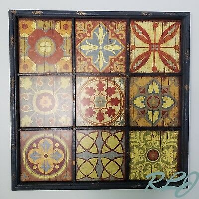 Large Decorative Rustic Distressed Multi-Color Wood Tile Wall Art Panel Decor