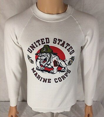 Vtg United States Marine Corps Sweatshirt Small White Soffe English Bulldog 1983