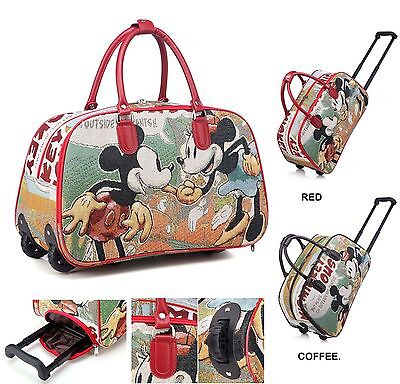 Ladies Micky& Minnie Mouse Luggage Travel Bags Weekend Bag Cabin Holdall Disney
