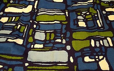 Vintage 1950s Mid-Century Abstract Curtains Drapes Barkcloth? Fabric Blue Green