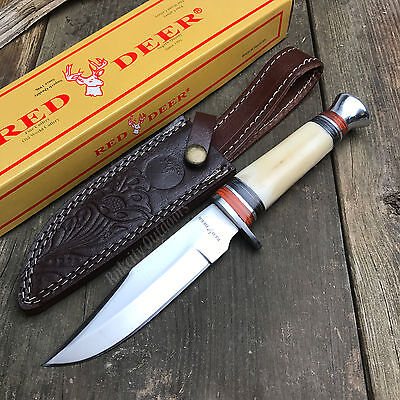 """Red Deer 10"""" Bone Handle Hunting Camping Survival Fixed Blade Knife W/Sheath New"""