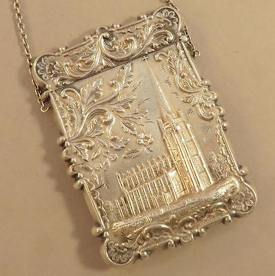 Coin Silver Leonard & Wilson Castle Top card case Trinity Church, NY & capital b