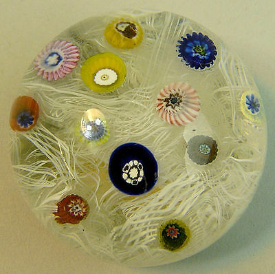 A Fine Strathearn Scatter Cane Latticino Muslin Ground Glass Paperweight Boxed