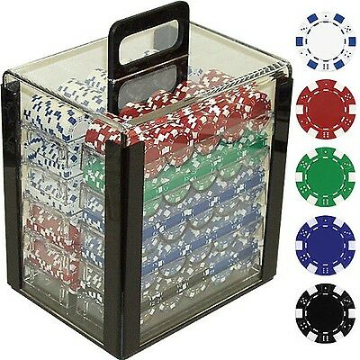 Trademark Poker 1000 Dice Striped Chips in Acrylic Carrier NEW FREE SHIPPING