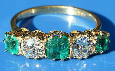 Rare Antique Art Deco Emerald & 1.00ct Cushion Cut Diamond 18ct Gold Ring