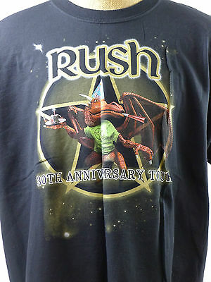 Rush 30 Anniversary 2004 Rock Short Sleeve Vtg TShirt Black XXL 2XL