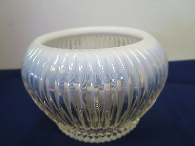 Fenton White Opalescent Ribbed 3 inch  Bowl