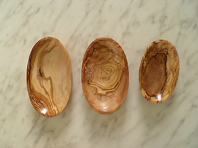Natural Set of 3 Olive Wood Bowls plates Dishes: nuts olives dried fruits
