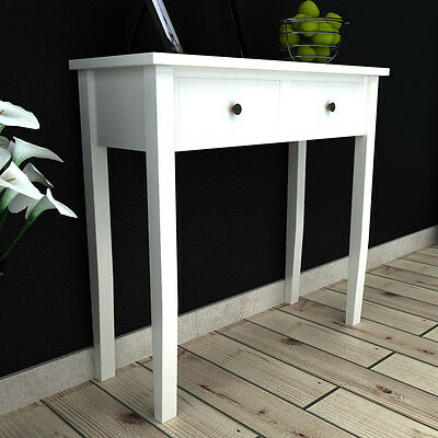 Shabby Chic Console Hall Table Side End Dressing Desk With 2 Drawers White