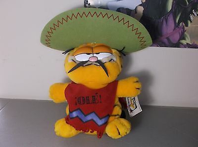 "1981 Dakin SENOR GARFIELD Mexican Ole 11"" Plush Cactus Sombrero Vintage Cat Doll"